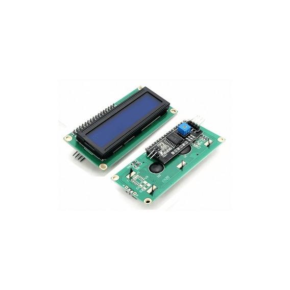 Display 16x02 Fundo Azul + Módulo Adaptador I2c