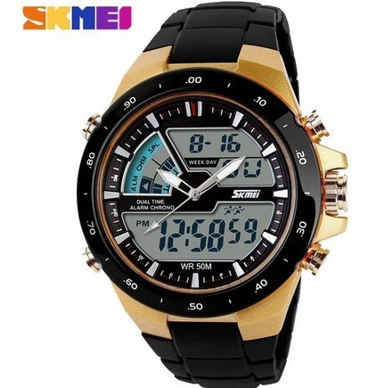 Relógio Masculino Skmei 1016 Esporte Alarme 30m Dourado