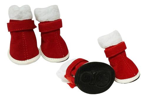 Imagen 1 de 6 de 4 Unids Zapatos Para Perros Botines De Navidad Protectores
