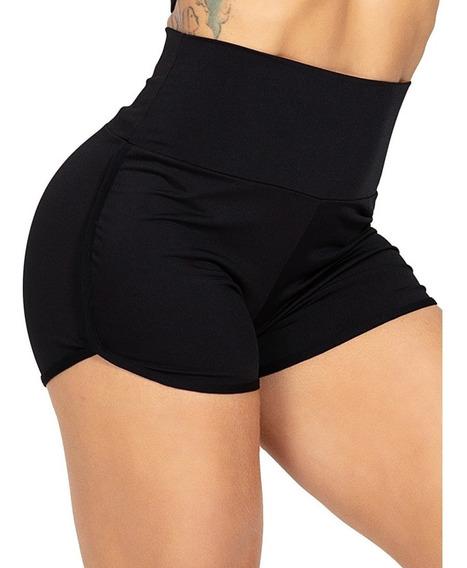 Short Cós Alto Moda Fitness Feminino Academia Preto