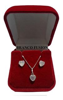 Gargantilha De Prata Brinco (conjunto)corações Cristal Prata