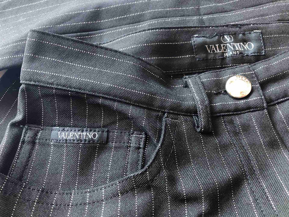 Pantalón Valentino Mujer Negro Made In Italy A Rayas