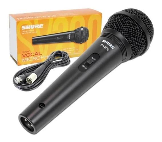 Microfone Shure Vocal Sv200 Com Fio Voz Karaoke Grade Preto