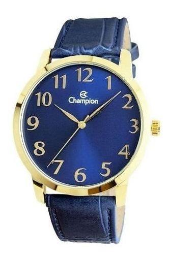 Relógio Masculino Dourado Azul Couro Champion Cn20640a Nf