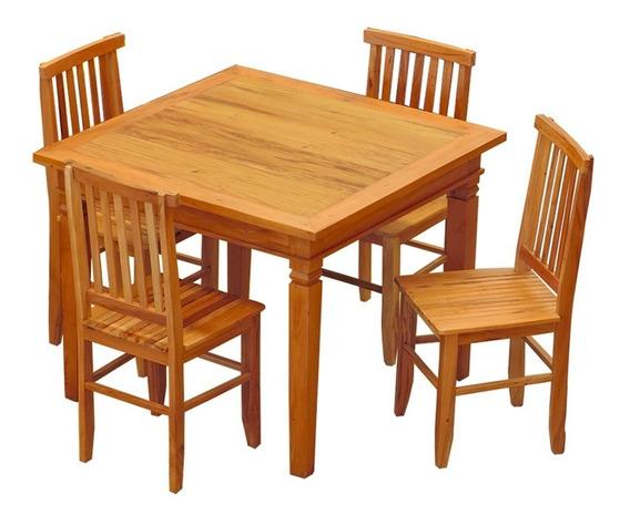 Conjunto Mesa De Jantar 1 X 1 M 4 Cadeiras Mineira Madeira