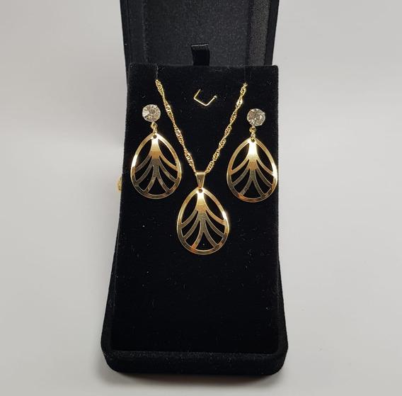 Kit Com 3 Conjuntos Femininos (colar + Brincos) Em Ouro.