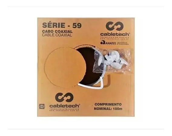 Kit 3 Caixas Cabo Coaxial Rg59 300m 60% Malha Antena