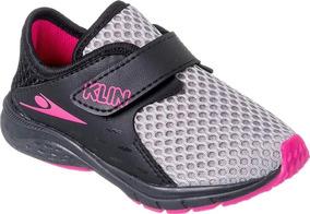 Tênis Klin Baby Genesis Infantil Bebê Menina Cinza Velcro