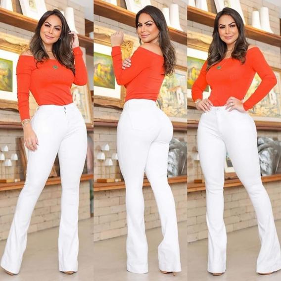 Calça Flare Jeans Cintura Alta Empina Bum Bum Tendência 2020