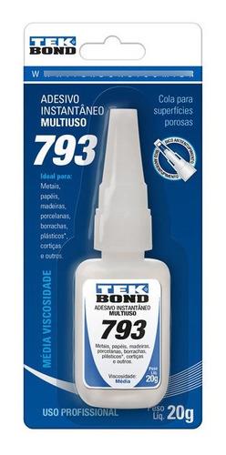 Imagem 1 de 5 de Cola Instantânea Tekbond Secagem Rápida 793 20g Multiuso