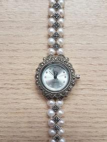 Relógio De Prata Feminino Com Pérolas Naturais Cultivadas
