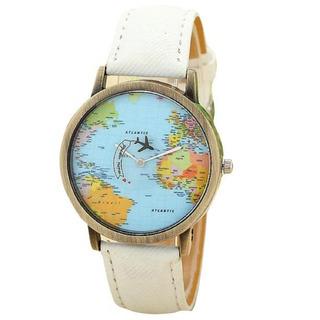 Reloj Pulsera Mapamundi Mapa Mundo Vintage Unisex Avion Gira
