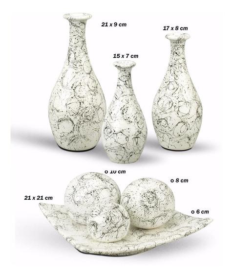 Trio De Vasos Cerâmica Mais Enfeite Centro De Mesa Arranjo