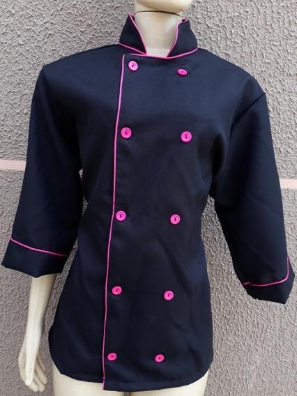 Dolmã Feminina Oxford Preta Com Rosa Pink Uniforme Chef