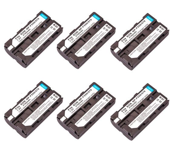 6x Bateria Np-f550 F570 Iluminador Led 2200mah Hd160 Cn160