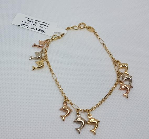 Pulseira Em Ouro 18k 750 Portuguesa 9 Golfinhos 19cm 6,95g
