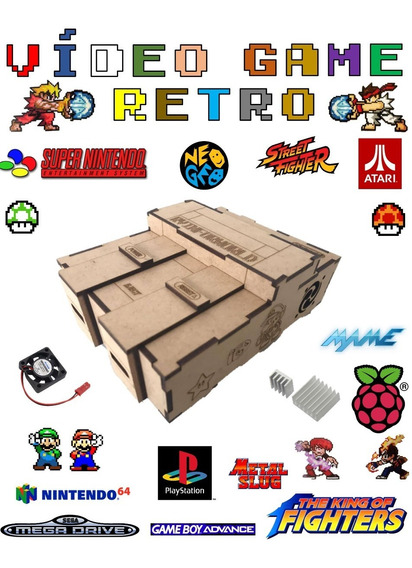 Video Game Retro 64gb Com 2 Controles Jogos Retro Raspberry