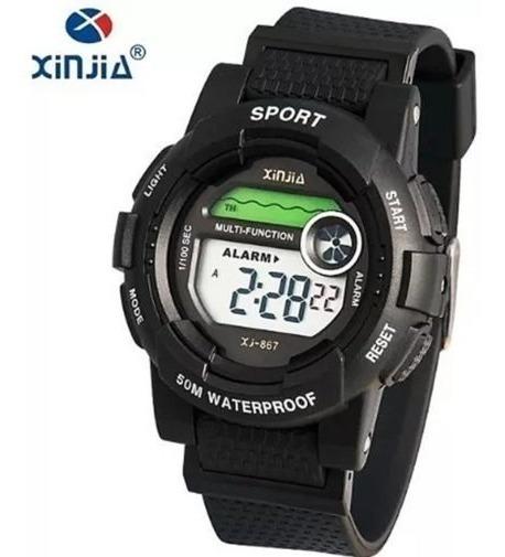 Relógio Feminino Xinjia-867 Fitness Digital Preto Prova De Água Cronometro Calendário Alarme E Luz