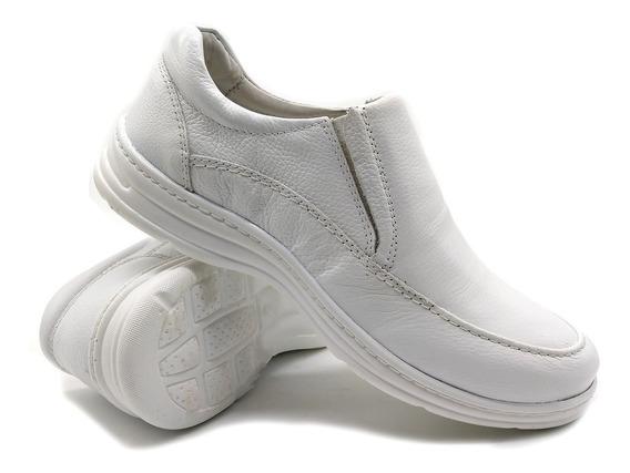 Sapato Masculino Confort Ortopedico Flex Leve Em Couro 2711