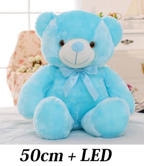 Ursinho Urso Bicho 50 Cm Pelúcia Creme Branco + Laço Lacinho