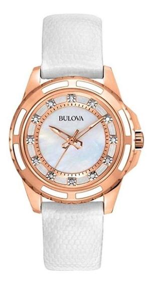 Relógio Bulova 98p119 Banho Ouro Rose Visor 12 Diamantes.