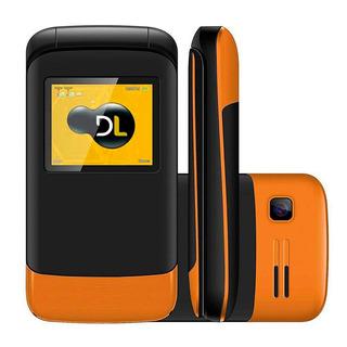 Celular Bom Para Idosos Flip Dl 230 2 Chip Câmera Fm Laranja