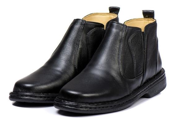 Botina Sapato Anti Stress Ortopédico Masculino Social Preto