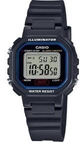 Relógio Casio Masculino Preto E Azul Quadrado Digital + Nf