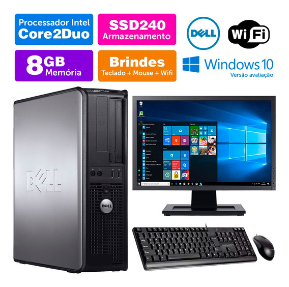 Computador Usado Dell Optiplex Int C2duo 8gb Ddr3 Ssd240 19w
