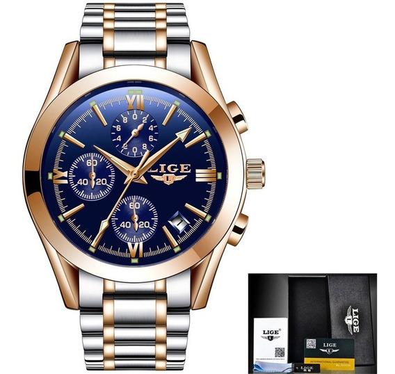 Relógio Masculino Luxo Original Prata Azul Dourado 9839