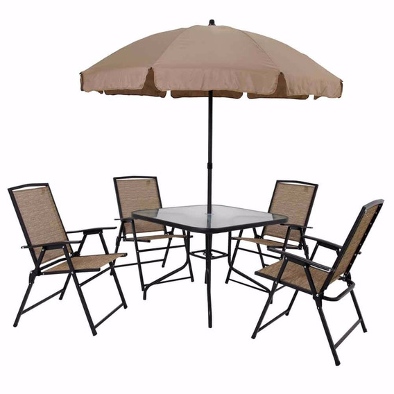 Conjunto De Mesa Acapulco Com 4 Cadeiras E Guarda-sol Mor