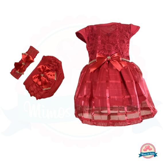 Vestido Bebê Infantil Festa Batizado 3pç Calcinha Rn 8 Meses