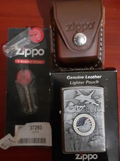 Zippo Con Forro Original Y 2 Juegos De Piedras Originales