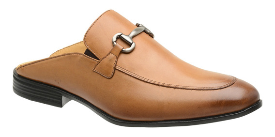Sapato Mule Slipper Masculino Malbork Em Couro Caramelo