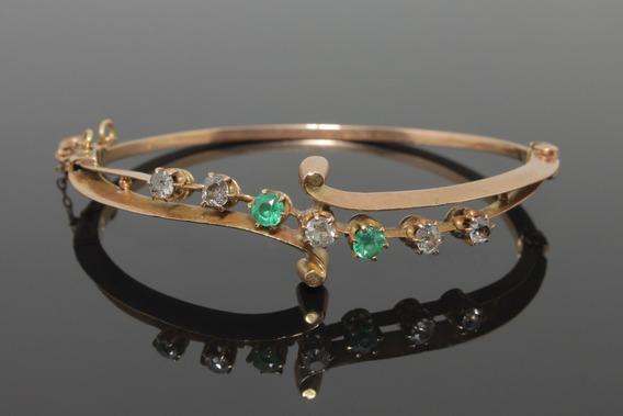 (1001) Bracelete Antigo Ouro Rose Esmeraldas E Brilhantes
