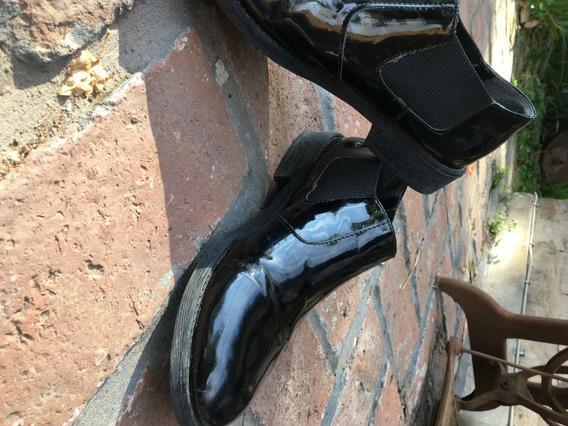Zapatos Negros De Charol Talle 39 Taco Bajo