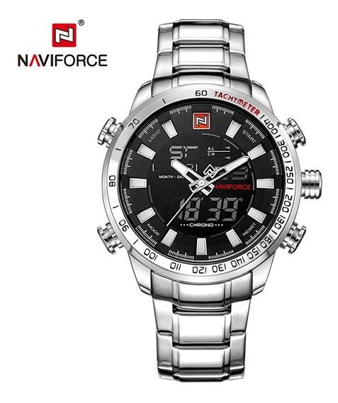 Relógio Masculino Naviforce 9093 Prata Promoção Barato