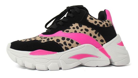 Tênis Feminino Sneaker Chunky Onça Neon Lançamento Zatz