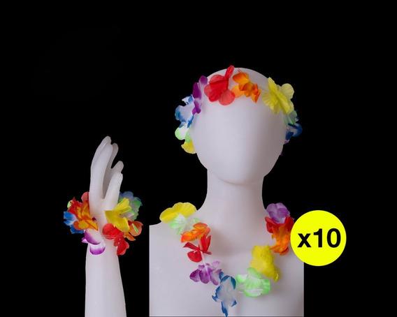 Combo Hawaiano (collar, Vincha Y Pulseras) X 10 Unidades