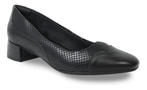 Sapato Comfortflex Feminino Croco Salto Baixo 1995301