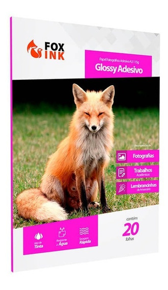 Papel Fotográfico Glossy Adesivo A3 (115g) - Foxink