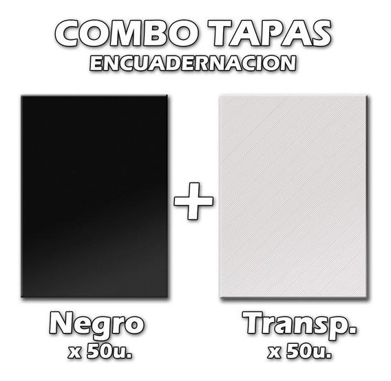 Combo Encuadernacion Tapas A4 / 50 Negro + 50 Transparente