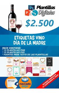 Plantillas Etiquetas Para Vino Día De La Madre Mamá 15