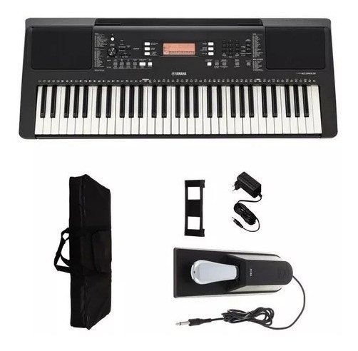 Teclado Musical Yamaha Psr E363 + Fonte + Capa + Pedal