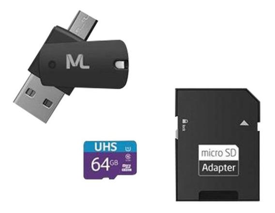 Cartão De Memória 80 Mb/s Uhs1 64gb +adap Sd Mc152 Classe 10