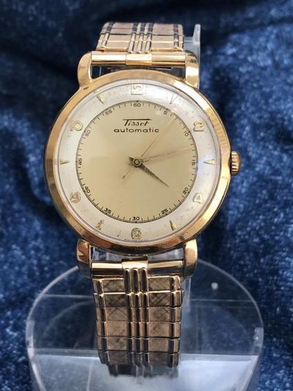 Relógio Ouro 18k Plaquê Automático Tissot By Omega Grandão