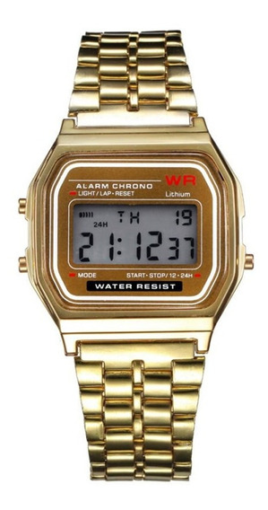 Relógio Vintage Wr Digital Pulseira Inox Prata Rose Dourado