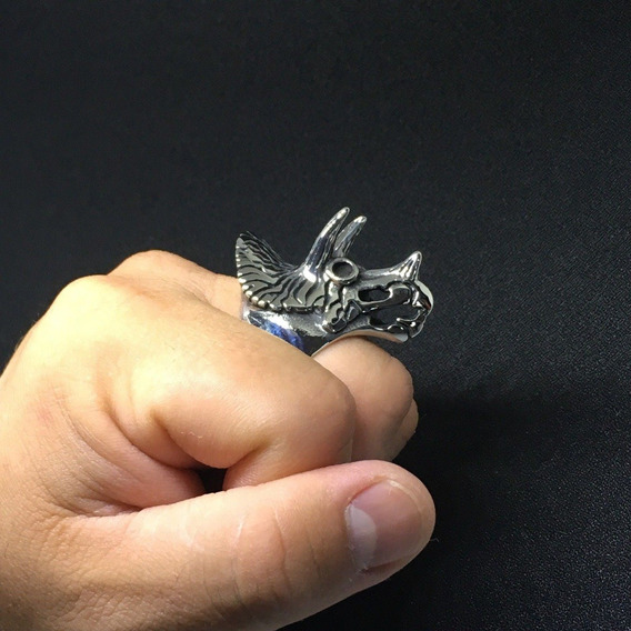 2x1 Anillo Triceratops Dinosaurio Aluminio Suerte Talisman