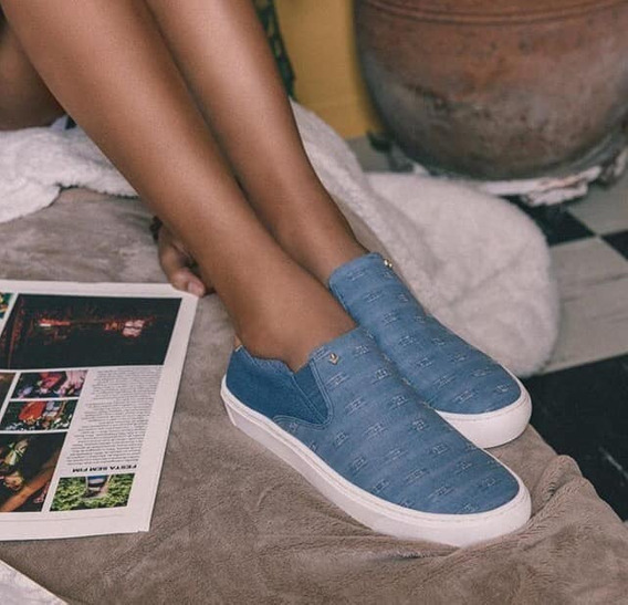 Tênis Feminino Jeans Cravo E Canela Slip On