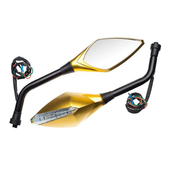 Retrovisor Esport Pisca Dourado Moto Biz Bros Cg Riva Hornet